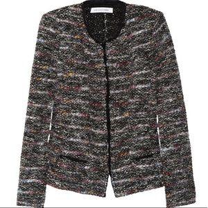 Isabel Marant Etoile Tweed Zip Front Jacket Black with Multi Color Fabric